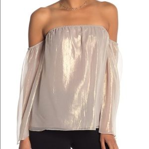 NWT BAILEY 44 Out Take Top off shoulder L gold NEW